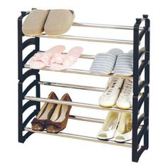 Use the free standing shoe rack to organise your shoes. Make space for ladies shoes, sneakers, heals, sandles, pumps. Stack the rack for more space.