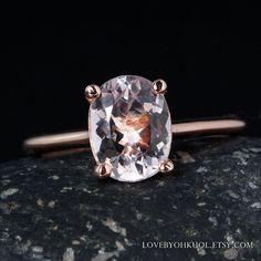 Oval Pink Morganite Engagement Ring – White Diamond Band by lovebyohkuol Bridal Rings, Wedding Rings, Thing 1, Rose Gold Pink, Morganite Engagement, Beautiful Engagement Rings, Diamond Bands, Or Rose, Solitaire Setting