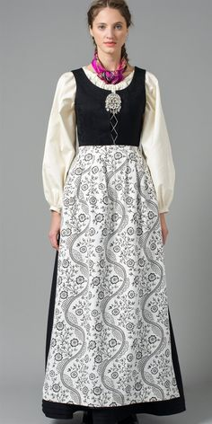 Northern Norway bunad with white shirt and black patterned apron Norwegian Clothing, Norwegian People, Dress Outfits, Cool Outfits, Costumes Around The World, Scandinavian Fashion, Folk Costume, Summer Outfits Women, Traditional Dresses