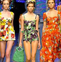 Dolce & Gabbana ss12.  Dolce & Gabbana celebrated their Italian roots with oversized vegetables adorning their garments and accessories. Eggplants, tomatoes, onions, and zucchini in dynamic repeats create a vintage 50?s feel.   - Jessie Whipple Vickery