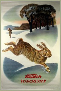 Winchester Rifles Advertising Poster Hare 1920s by BloominLuvly