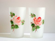 Hazel Atlas Frosted Glass Tumblers (2) with Pink Roses