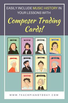 Set of 10 (FREE) Composer Trading Cards! Use them as a way to easily include music history in your piano lessons. All 10 available by clicking on the image.