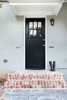 20 Trendy Ideas For Stamped Concrete Patio Steps Front Doors Porch Steps, Fixer Upper House, House Exterior, Exterior Front Doors, Weatherboard House, Brick, Brick Steps, Recycled Brick, Brick Porch