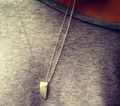 bliss blog - i heartmonday.// Rainbow Moonstone Horn and Triple Sterling Silver Chain Necklace by Gramercy Eight