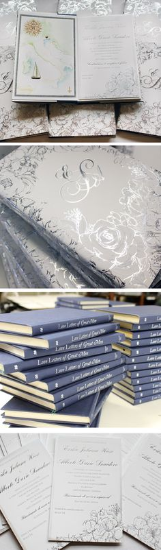 "Guests received the famous book ""Love Letters of Great Men"" wrapped in a custom cover featuring hand drawn roses in silver foil. Invitation and detail cards tucked inside. #weddinginvitations #blacktiewedding #weddinginvites #bookinvitations #loveletters #kristyrice #momentaldesigns"