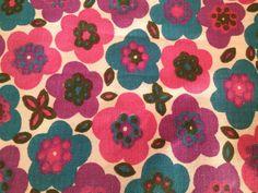 Wonderful 70s swedish vintage fabric with bright by Inspiria, kr75.00