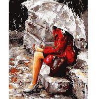Imagem pintura a óleo DIY por números sobre tela caligrafia lona decorativa pintura pelo número de escova desenho menina chuva E435