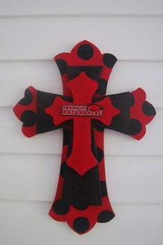 3 Tiered Red and Black Razorback Cross by CrystalHillCreations