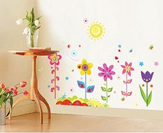 $9.99  - Dnven Border 35w X 32h Sunflowers Blossoms Blooms Flowers Floral with Butterflies Baseboard Stripe Border Wall Decals Stickers Decor for Girls Rooms Bedroom Nursery Flowers in the Sun * Click on the image for additional details. (This is an affiliate link) #WallStickersMurals