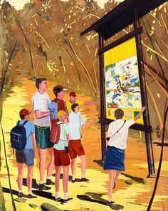 Jules de Balincourt, Little Men, Big Map, 2005, Oil and acrylic on wood panel, 47.2x37.4in (119.9x95cm)