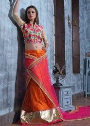 Party Wear Orange Net Embroidered Work Lehenga Choli