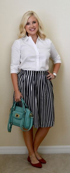 Her Dailey Style: work outfit: striped skirt + white blouse