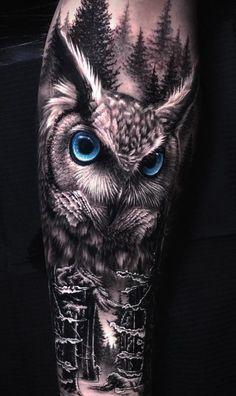 Owl Neck Tattoo, Owl Skull Tattoos, Animal Sleeve Tattoo, Girl Arm Tattoos, Bear Tattoos, Arm Tattoos For Guys, Animal Tattoos, Cool Tattoos, Half Sleeve Tattoos Drawings