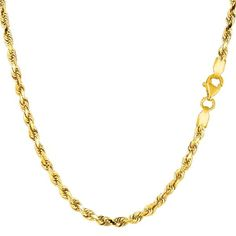 14K Yellow Gold Solid Diamond Cut Royal Rope - Width 2.75mm - JewelryAffairs  - 1