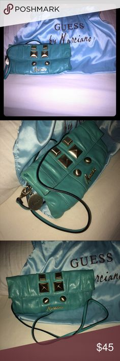 👛Guess by Marciano👛 👛Guess by Marciano turquoise leather purse shoulder strap with Lg sliver-studs!!👛 and dust bag.. Guess by Marciano Bags Shoulder Bags