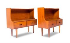 MID CENTURY Pair of Danish Teak Nightstands End Tables.MCM.Vintage.Bedroom.Bed #Unkown
