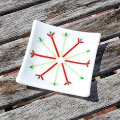 Snowflake Fused Glass Dish  Nordic  Christmas by FirstLightGlass, $16.00