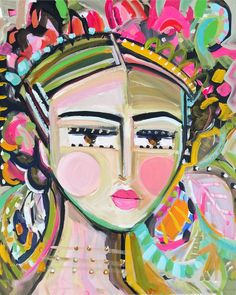 Warrior Girl PRINT, abstract faces, Maren Devine, paper or canvas, Gracie by Marendevineart on Etsy