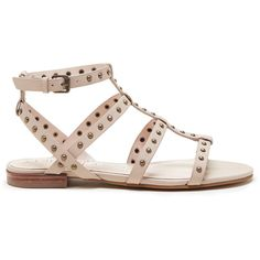 Sole Society Celine Gladiator Flat Sandal ($85) ❤ liked on Polyvore featuring shoes, sandals, french taupe, ankle strap shoes, flat gladiator sandals, strap sandals, strappy gladiator sandals and strappy leather sandals