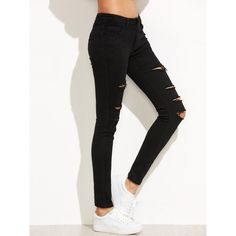 Black Ripped Skinny Denim Pants ($15) ❤ liked on Polyvore featuring jeans, black, distressed jeans, torn jeans, denim skinny jeans, destroyed denim skinny jeans and stretch denim skinny jeans