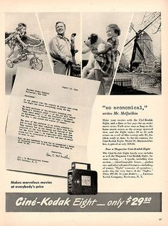 1940 Cine' Kodak Eight Camera Original Print Ad Large Single Ad - Between 10 x 13 to 11 x 14 inches, suitable for framing.