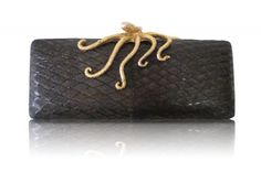 Joanna Lhuillier clutch made of Pukol fish skin with gold octopus applique