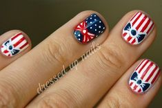 This retro patriotic nail design by Dressed Up Nails is perfect for your of July. Check out our 15 Patriotic of July Nails here! New Nail Art, Cool Nail Art, Hair And Nails, My Nails, Firework Nails, Fireworks, Patriotic Nails, Patriotic Party, 4th Of July Nails