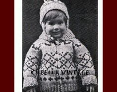 Cowichan Style Childs Sweater Knitting Pattern Vintage 1970s  For Size S Chest Size 24 to 26 (Age 4 to 6 years) M Chest Size 28 to 30 (Age 7 to 9 years) L Chest Size 30 to 32 (Age 10 to 12 years)  Graph Pattern Includes pattern for Toque  Needles: 1 pair size 0 ( 8 mm) 1 pair size 3 (6.5 mm)  PLEASE enjoy creating something new out of these vintage patterns, but please do not duplicate this pattern for anything other than personal use. Thank you from Kilbella Vintage.  Your PDF pattern will…