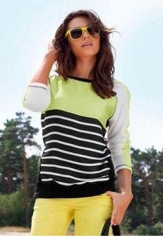 Sweatshirt / Shirt von Laura Scott mit Satineinsatz Farbe Weiß/Bund Größe 32   eBay