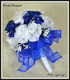 blue silver wedding flowers   ... Flower Wedding Bouquet Corsage Boutonniere Royal Blue Silver   eBay