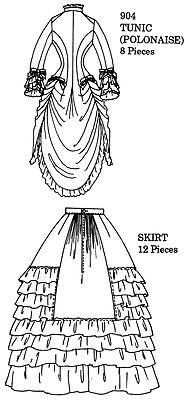 Tunic or polinaise and skirt. Skirt Patterns Sewing, Shirt Patterns, Skirt Sewing, Victorian Fashion, Vintage Fashion, Victorian Pattern, Medieval Dress, Sewing Projects, Sewing Ideas