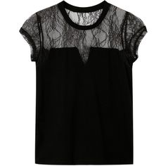 Yoins Black Hollow Out Lace Crew Neck T-shirt ($17) ❤ liked on Polyvore featuring tops, t-shirts, black, crew top, snap tee, lace tops, crew-neck tee and lacy tops