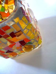 Stained Glass Mosaic // Candle Holder // by earthmothermosaics, $45.00