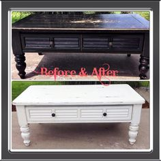 Coffee table refinished in Swiss Coffee chalk paint.