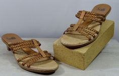 Sofft Women's Size 9.5 M Gold Braided Leather Kitten Heels Sandals #Sfft #Braided #Casual
