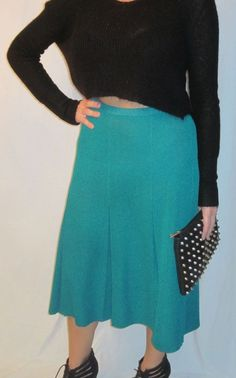 Long solid blue / torqouise pleated Bell skirt. Size 8. 100% Polyester #Unknown #Pleated