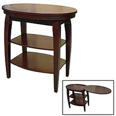 @Overstock.com - Wood Cherry Magazine Table - This innovate side table features a swinging double tabletop that is great for storage and expanding this table's uses. A rich cherry finish completes the look of the magazine table.    http://www.overstock.com/Home-Garden/Wood-Cherry-Magazine-Table/5126338/product.html?CID=214117  $69.15