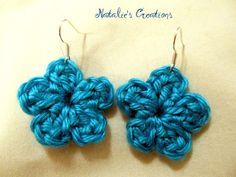 Turquoise Crochet Flower Handmade Earrings by SimplicityCrafting, $5.00