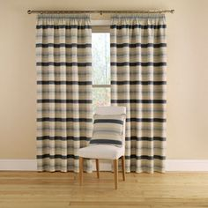 Montgomery China Blue 'Vintage Stripe' Lined Curtains With Pencil Heading- at Debenhams.com