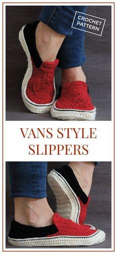 I love crochet slippers that look like shoes. Vans Style Slippers Crochet Pattern, Comfortable unisex adult slippers that look great! #crochet #crochetpattern #ad #slippers #diy