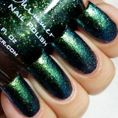 Pin for Later: You'll Be Obsessed With These Glittery, Color-Changing Nail Polishes KBShimmer Nail Polish in She's Beyond Kelp Swatch This is two coats of She's Beyond Kelp, with no topcoat.
