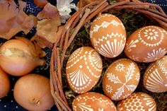 Sorbische Ostereier, via Flickr. I remember making these in Grieskirchen, Austria! Add the onion skins to boiling water for a natural dye. We also wrapped certain spring herbs/flowers onto the eggs to create beautiful lacey or watercolor effects.