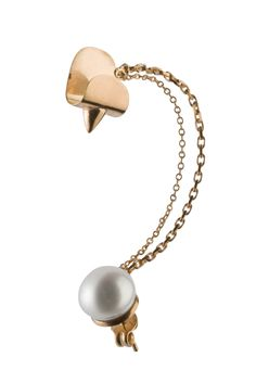 CONE STUD CHAIN EARCUFF / 24-karat gold-plated sterling silver / fresh-water pearl