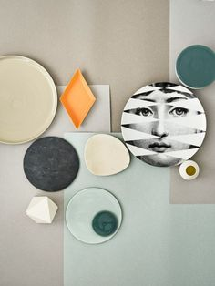 Still life with Fornasetti plate by Heidi Lerkenfeldt. Flat Lay Photography, Still Life Photography, Photocollage, Collor, Material Board, Colour Board, Color Pallets, Colour Schemes, Color Inspiration