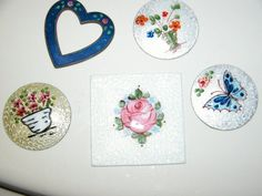 DESTASH Rare Vintage Enameled Hand Painted Guilloche Enameling Plaque Compact Jewelry Making Heart Florals Flower Butterfly Bouquet Enamel