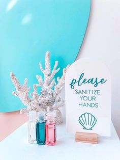 Under the Sea-inspired Signage + Sanitize Station from a Turquoise and Pink Mermaid Birthday Party on Kara's Party Ideas | KarasPartyIdeas.com (19) Girls Birthday Party Themes, Mermaid Theme Birthday, Girl Birthday, Birthday Parties, Mermaid Balloons, Bubble Balloons, Mermaid Party Decorations, Mermaid Parties, Mermaid Kids