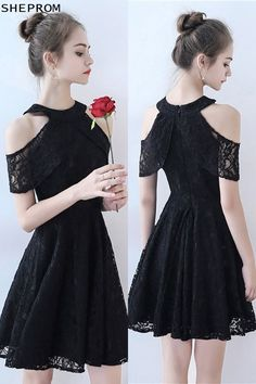 Shop Little Black lace Short Homecoming Dress Aline online. SheProm offers formal, party, casual & more style dresses to fit your special occasions. Trendy Dresses, Cute Dresses, Beautiful Dresses, Short Dresses, Prom Dresses, Formal Dresses, Pretty Black Dresses, Black Lace Shorts, Lace Dress Black