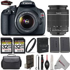 Canon EOS Rebel T5 1200D SLR Camera 18-55 IS Lens + 64GB KIT + Case + More! in Cameras & Photo,Digital Cameras, | eBay
