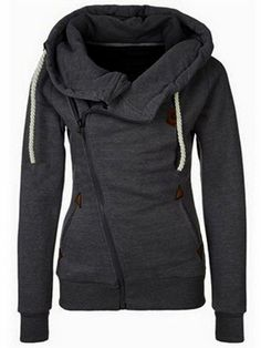 Stylish And Trendy Womens Hoodies - Fabulous Fashion Style//Hooded Oblique Zipper Loose Grey Sweatshirt